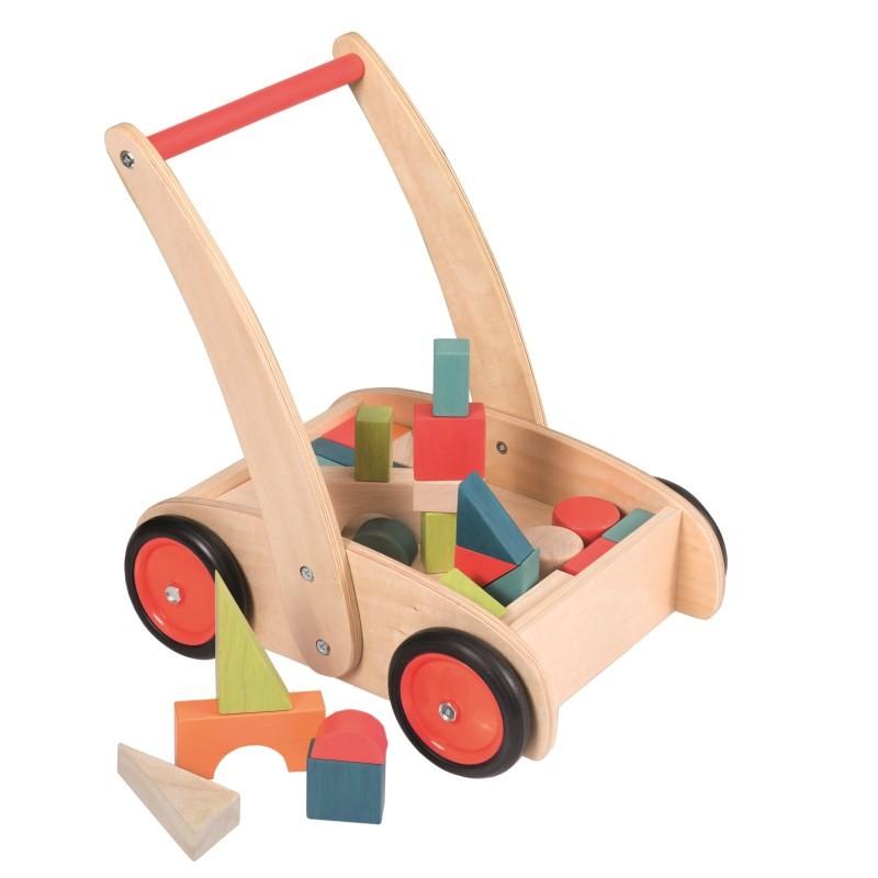 Chariot de marches avec blocs en bois