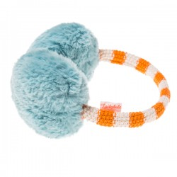 Stripy Knit Earmuffs - blue